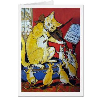 El gato amarillo toca el violín para las ratas tarjeta de felicitación