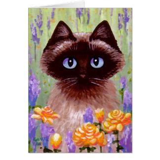 El gato birmano siamés de Ragdoll florece arte de Felicitaciones