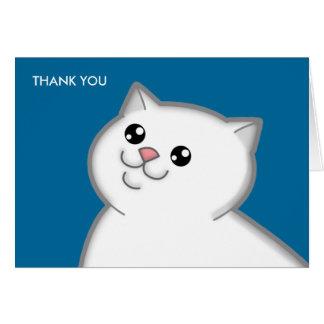 El gato blanco gordo feliz le agradece las tarjeta
