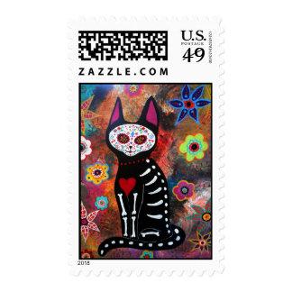 El Gato Cat Day of the Dead by Prisarts Postage
