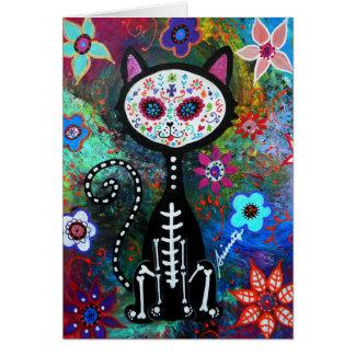 El Gato Cat Dia de los Muertos by Prisarts Card
