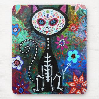 El Gato Cat Dia de los Muertos by Prisarts Mouse Pad