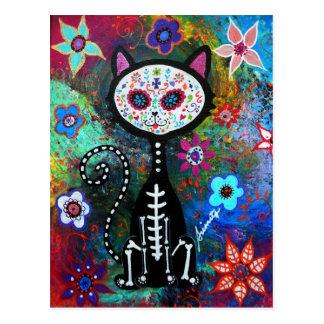 El Gato Cat Dia de los Muertos by Prisarts Postcard