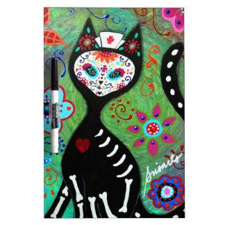 EL GATO CAT DIA DE LOS MUERTOS NURSE PAINTING Dry-Erase WHITEBOARD