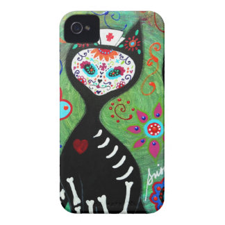 EL GATO CAT DIA DE LOS MUERTOS NURSE PAINTING iPhone 4 CASE