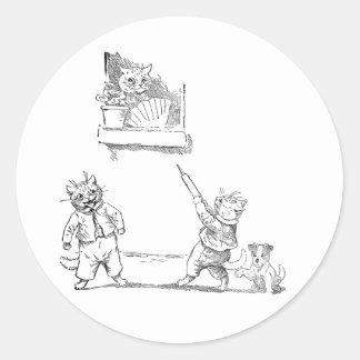 El gato con arroja a chorros el vintage Louis Wain Pegatina Redonda