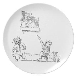 El gato con arroja a chorros el vintage Louis Wain Platos De Comidas