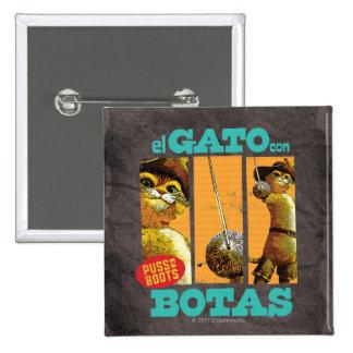 El Gato Con Botas 2 Inch Square Button
