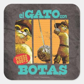 El Gato Con Botas Square Sticker