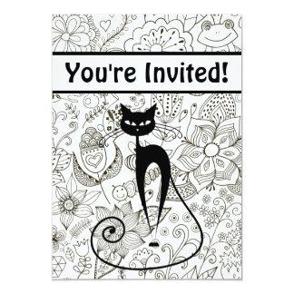 """El gato con cumpleaños blanco y negro del jardín invitación 5"""" x 7"""""""