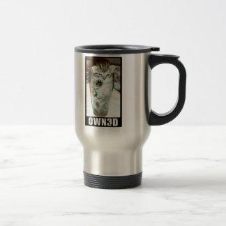 El gato conseguido poseyó la taza