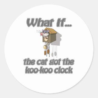 El gato consiguió el KooKoo Pegatina Redonda