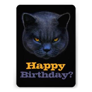 ¿El gato cruzado dice feliz cumpleaños? Invitación Personalizada