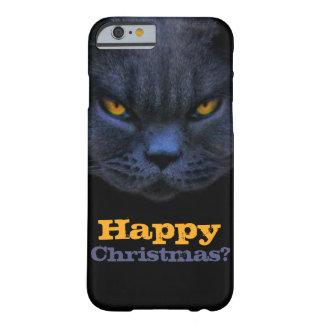 ¿El gato cruzado divertido dice felices Navidad? Funda Barely There iPhone 6