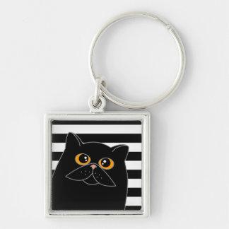El gato curioso - negro con los ojos anaranjados llavero cuadrado plateado