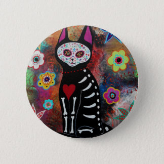 El Gato Day of the Dead Painting by Prisarts Pinback Button