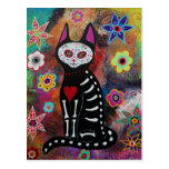 El Gato Day of the Dead Painting by Prisarts Post Card