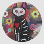 El Gato Day of the Dead Painting by Prisarts Classic Round Sticker
