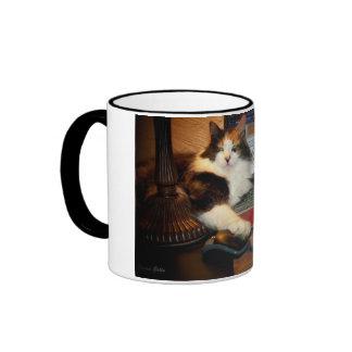 El gato de calicó consiguió su taza de café del ra