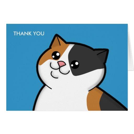 El gato de calicó gordo feliz le agradece las tarjeta pequeña