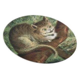 El gato de Cheshire en placa de los pasteles Plato