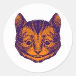 El gato de Cheshire entintó el naranja púrpura Etiqueta