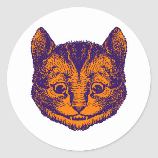 El gato de Cheshire entintó el naranja púrpura Pegatina Redonda