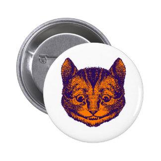 El gato de Cheshire entintó el naranja púrpura Pin Redondo 5 Cm
