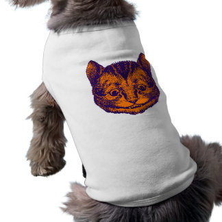 El gato de Cheshire entintó el naranja púrpura Playera Sin Mangas Para Perro