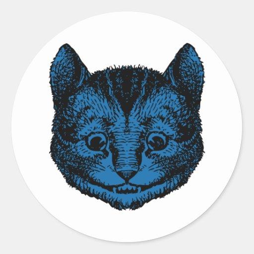 El gato de Cheshire entintó el terraplén azul Pegatina Redonda