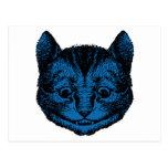 El gato de Cheshire entintó el terraplén azul Postal