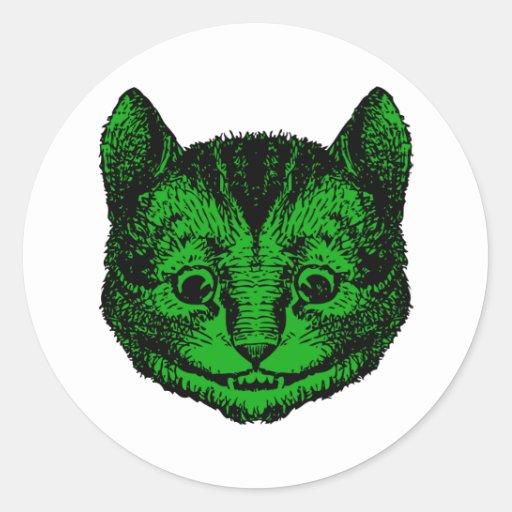 El gato de Cheshire entintó el terraplén verde Pegatina Redonda
