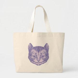 El gato de Cheshire entintó la lavanda Bolsa Tela Grande