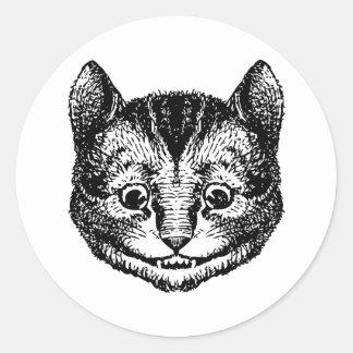 El gato de Cheshire entintó negro Pegatina Redonda