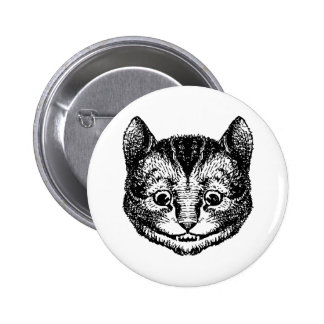 El gato de Cheshire entintó negro Pin Redondo 5 Cm