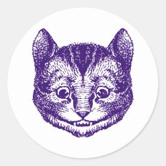El gato de Cheshire entintó púrpura Pegatina Redonda