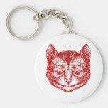 El gato de Cheshire entintó rojo Llavero
