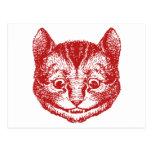 El gato de Cheshire entintó rojo Postal