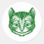 El gato de Cheshire entintó verde Pegatinas Redondas