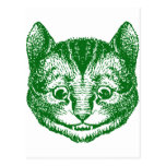 El gato de Cheshire entintó verde Postales