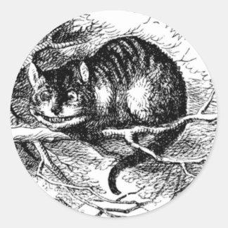 El gato de Cheshire Pegatina Redonda