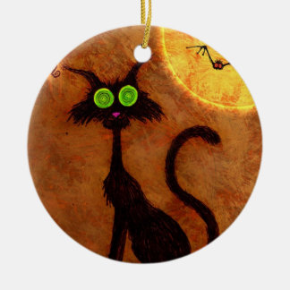 El gato de Halloween - Adorno Navideño Redondo De Cerámica