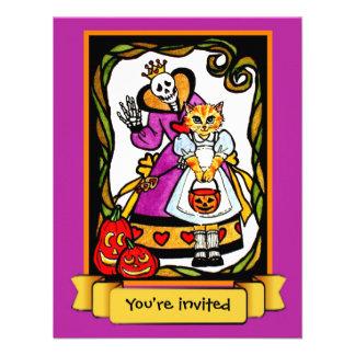 El gato de Halloween como fiesta de Alicia Hallowe Invitaciones Personales