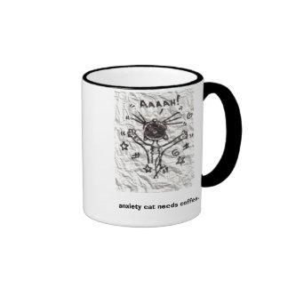 El gato de la ansiedad necesita el café tazas de café