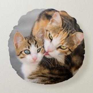 El gato de la madre ama el gatito lindo liso cojín redondo