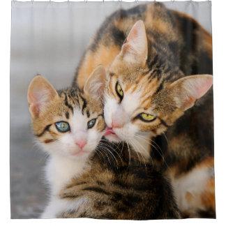 El gato de la madre ama el gatito lindo, tina cortina de baño