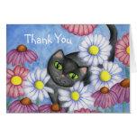 El gato de la margarita le agradece cardar tarjeta de felicitación