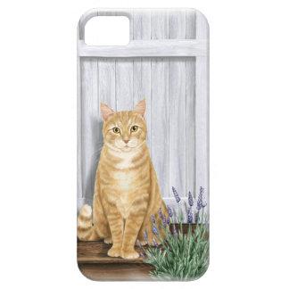 El gato de la puerta de la lavanda iPhone 5 funda