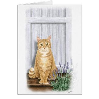 El gato de la puerta de la lavanda felicitación
