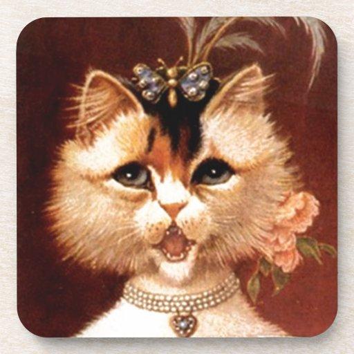 El gato de la sala del canto del Victorian de los  Posavasos De Bebida